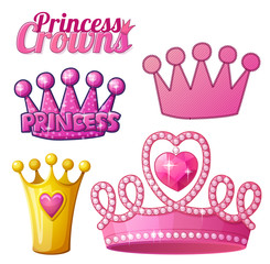 Set  of princess crowns isolated on white