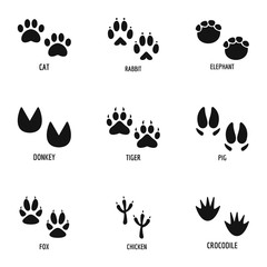 Animal tracking icons set. Simple set of 9 animal tracking vector icons for web isolated on white background