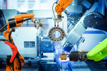 Industrial robotic working on smart factory