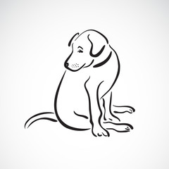 Vector of sitting dog(Labrador Retriever) on white background, Pet. Animals. Easy editable layered vector illustration.