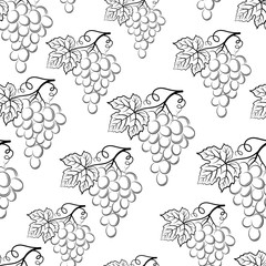 Seamless Pattern, Bunch of Grapes with Leaves and Berries Black Contour Pictograms Isolated on Tile White Background. Vector