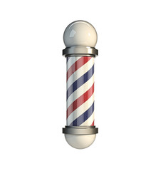 Classic Barber Pole isolated on white Background. 3d rendering Illustration.