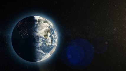 Planet earth with sunrise in space, Rising Sun over Earth. Earth planet