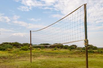 Handball net in the countryside facing Kilimanjaro in northwestern Kenya