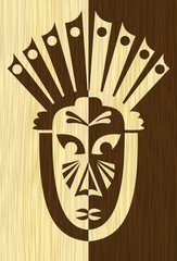 Wood art inlay tile with inverse carved face mask, tribal african motif, light and dark wood