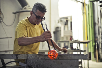 Shaping colorful glass