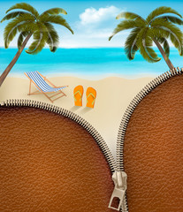 Seaside background with a zipper. Vector.