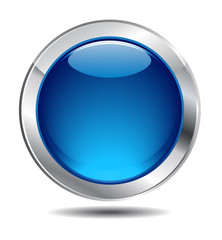 Blue Shiny Button Icon, Vector Design