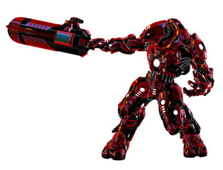 robotic warrior with weapon