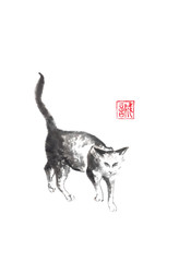 Walking cat Japanese style original sumi-e ink painting.