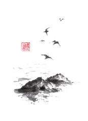 Flying sea gulls and rocks Japanese style original sumi-e ink painting.