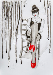 Woman sitting on a chair in stockings and corset with bright red shoes. Original pen, ink and watercolor painting on paper in black white and red. Blue eyes.