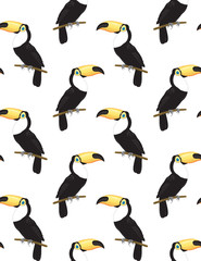 Seamless pattern with toucans on white background. Seamless pattern for design.