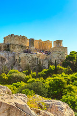 Day Athens panoramic landscape with Acropolis view against blue sky, Greece