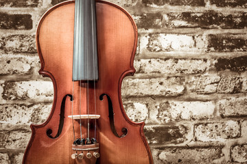 violin on wall background, classical music concept