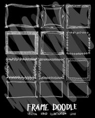 Frame doodle illustration wallpaper background line sketch style set on chalkboard eps10