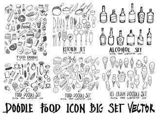 Food doodle illustration wallpaper background line sketch style set on chalkboard eps10
