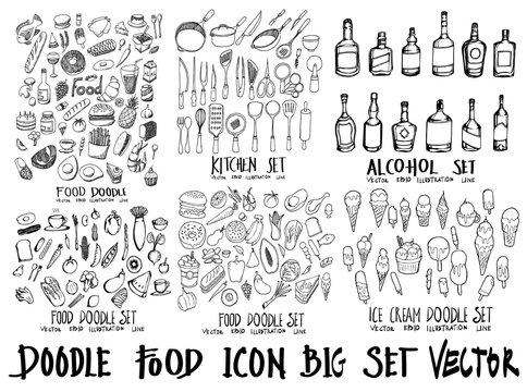 Food doodle illustration wallpaper background line sketch style set on chalkboard eps10