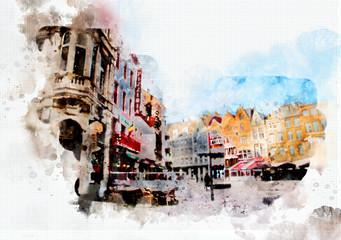 town life in watercolor style, Belgium