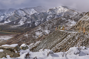 mountains snow road hairpin curve