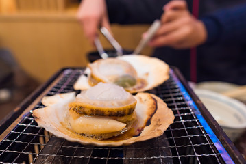Fresh scallop grilled