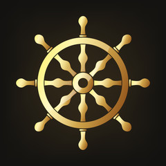 Gold steering wheel. Vector illustration.
