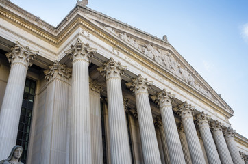 Facade of the National Archives Building in Washington DC on a Clear Autumn Day