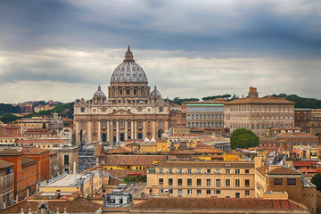 Panorama of Rome with a view of Basilica from St. Peter in the Vatican. Italy