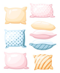 Sleep and rest symbol accessories for night rest pillows of pastel colors with a print striped and dotted in different angles icon in cartoon style isolated on white background