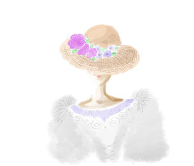Colorful hand drawn abstract portrait of lady with pink flower hat as fashion symbols on white background, isolated silhouette illustration painted by watercolor and pen, high quality