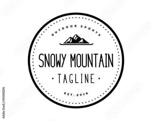 quotmountain with skateboard symbol snowy logo vectorquot stock