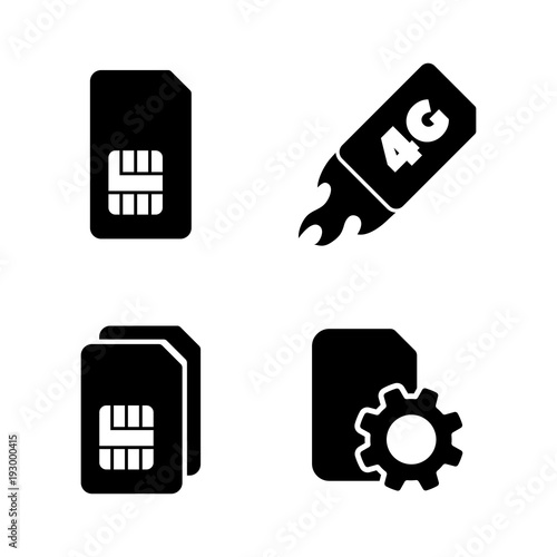 4G Sim Card  Simple Related Vector Icons Set for Video, Mobile Apps