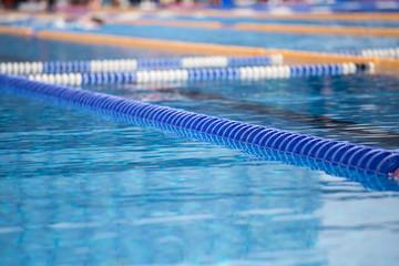 Close up of swim lanes in swimming pool