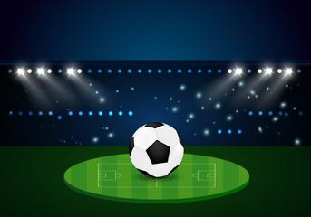 football Evening stadium arena soccer field championship. celebration gold confetti