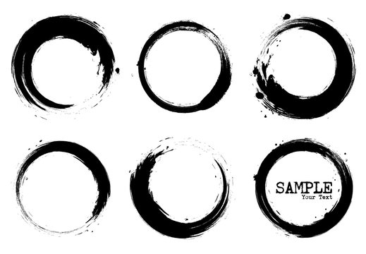 Grunge style set of circle shapes . Vector