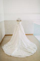 Luxury bridal dress on a mannequin. Artwork.