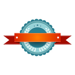 Circular vintage logo/banner. Teal and white, with a red banner. Isolated on white