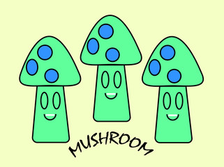 Vector of tree mushrooms are smiling cartoon style.