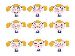 Funny little girl expressions set. Cute girl faces showing different emotions