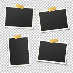 Set of vintage photo frame set with golden adhesive tape. Vector illustration with gold adhesive tapes. Photo realistic Vector EPS10 Mockups. Retro photo frame template for your photos.