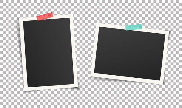 Two vintage photo frames with adhesive tape. Scrapbook picture design. Vector illustration of frame templates on transparent background for photos. Vector multi-colored  adhesive tapes.