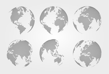Set of world map . Dotted style . Vector