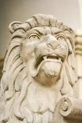 Closeup Large Lion Head Sculptured from Stone