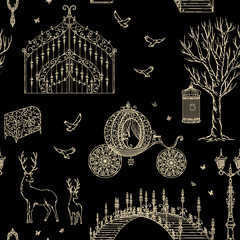 Enchanted forest. Seamless pattern with vintage gate, lantern, carriage, bridge, tree, chest, cage, mirror, deer. Fairy tale theme.  Collection of decorative design elements. Vector illustration
