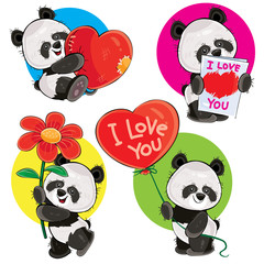 Valentine day vector cartoon set with cute panda bears, with soft heart, with love you greeting card, with flower and red balloon isolated on background. Clipart for cards, stickers, print for t-shirt