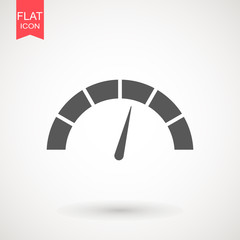 Speedometer vector icon in flat design. Speedometer or tachometer with arrow. Infographic gauge element. Template for download design. Colorful vector illustration in flat style.