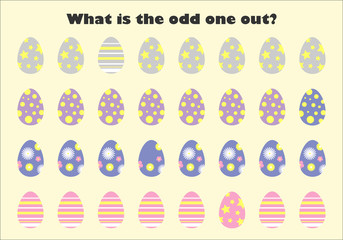 What is the odd one out for children, easter eggs in cartoon style, fun education game for kids, preschool worksheet activity, task for the development of logical thinking, vector illustration