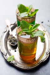 Mint, green tea, Moroccan traditional drink.