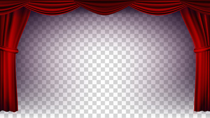 Red Theater Curtain Vector. Transparent Background. Poster For Concert, Theater, Opera Or Cinema Empty Silk Stage, Red Scene. Realistic Illustration