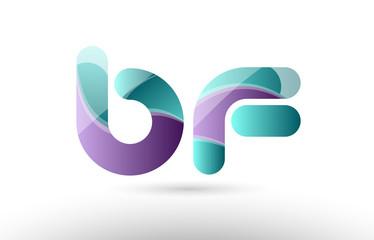 3d letter bf b f green purple alphabet logo icon company design